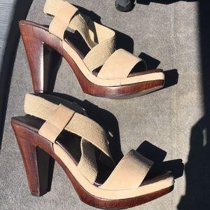 Cordani wood tan heels